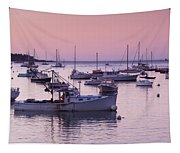 Boats In The Atlantic Ocean At Dawn Tapestry