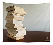 Book Stack On Table Tapestry
