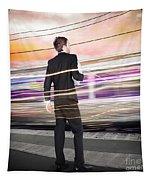 Business Man At Train Station Railway Platform Tapestry