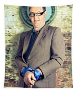 Businessman In Stress With Hands Bound Up Tapestry