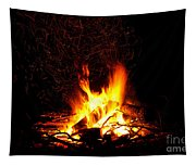 Campfire As A Symbol Of Warmth And Life On Black Tapestry