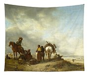 Seashore With Fishwives Offering Fish Tapestry