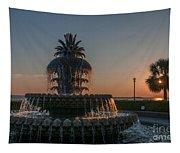 Pineapple Fountain Charleston Sc Sunrise Tapestry