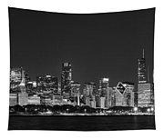Chicago Skyline At Night Black And White Panoramic Tapestry
