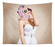 Classical Pinup Girl Posing In Retro Fashion Style Tapestry