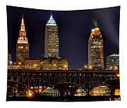 Cleveland Skyline At Night Tapestry