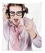 Cool Music Nerd Rocking Out To Metal On Headphones Tapestry