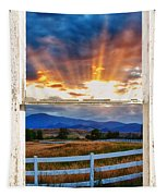 Country Beams Of Light Barn Picture Window Portrait View  Tapestry