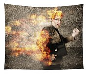 Crazy Businessman Running Engulfed In Fire. Late Tapestry