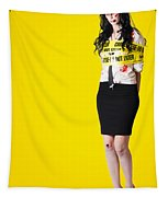 Creepy Homicide Girl Standing Undead On Yellow Tapestry