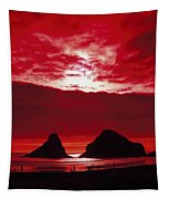 Crimson Sunset Tapestry