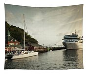 Cruise Ship At Port, Kingstown, Saint Tapestry