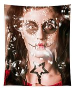 Day Of The Dead Girl Blowing Party Bubbles Tapestry