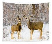 Deer In The Snowy Woods Tapestry