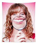 Dentist Showing White Teeth In A Dental Checkup Tapestry