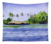 Digital Oil Painting - A Houseboat On Its Quiet Sojourn Through The Backwaters Of Allep Tapestry