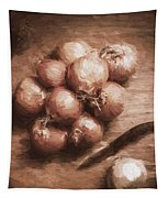 Digital Painting Of Brown Onions On Kitchen Table Tapestry