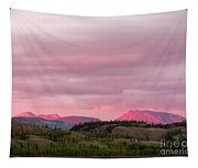 Distant Yukon Mountains Glowing In Sunset Light Tapestry