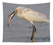 Egret With Fish Tapestry