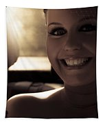 Elated Bride Sitting In The Wedding Car  Tapestry