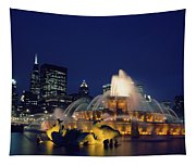 Evening At Buckingham Fountain - Chicago Tapestry