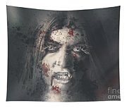 Evil Dead Vampire Woman Looking In Bloody Window Tapestry