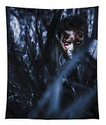 Evil Man Hiding In Silence At Dark Forest  Tapestry