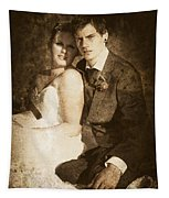 Faded Vintage Wedding Photograph Tapestry