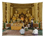 faithful Buddhists praying at Buddha Statues in SHWEDAGON PAGODA Tapestry