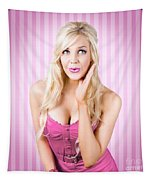 Fantastic Blond Pinup Girl With Surprised Look Tapestry