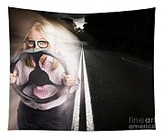 Fast Business Woman Driving Car With Light Trails Tapestry