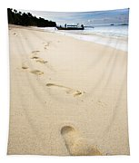Footprints On Tropical Beach Tapestry