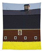 Front Of A Red Barn In A Flowering Tapestry