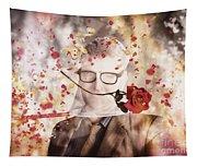 Funny Valentine Nerd Caught In Net Of Romance  Tapestry