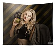 Gas Mask Pinup Girl In Nuclear Danger Zone Tapestry
