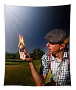 Golf Ball Flames Tapestry