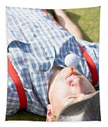Golf Player Finding Inner Balance Tapestry