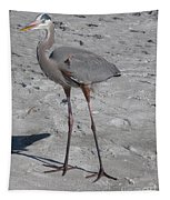 Great Blue Heron On The Beach Tapestry