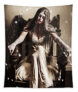 Haunting Horror Scene With A Strange Vampire Girl  Tapestry
