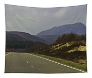 Highway Running Through The Wilderness Of The Scottish Highlands Tapestry