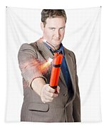 Hostile Male Office Worker Holding Flaming Bomb Tapestry