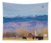 Hot Air Balloon Rocky Mountain County View Tapestry