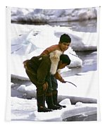 Inuit Boys Ice Fishing Barrow Alaska July 1969 Tapestry