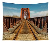 Iron Railroad Bridge Over Water, Texas Tapestry