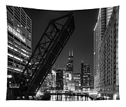 Kinzie Street Railroad Bridge At Night In Black And White Tapestry
