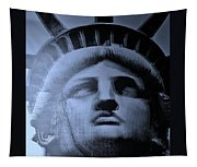 Lady Liberty In Cyan Tapestry
