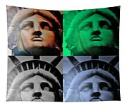 Lady Liberty In Quad Colors Tapestry