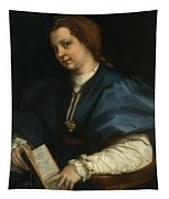 Lady With A Book Of Petrarch's Rhyme Tapestry
