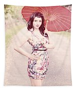 Lady With Red Parasol Tapestry