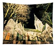 Large Stone Church At Night Tapestry